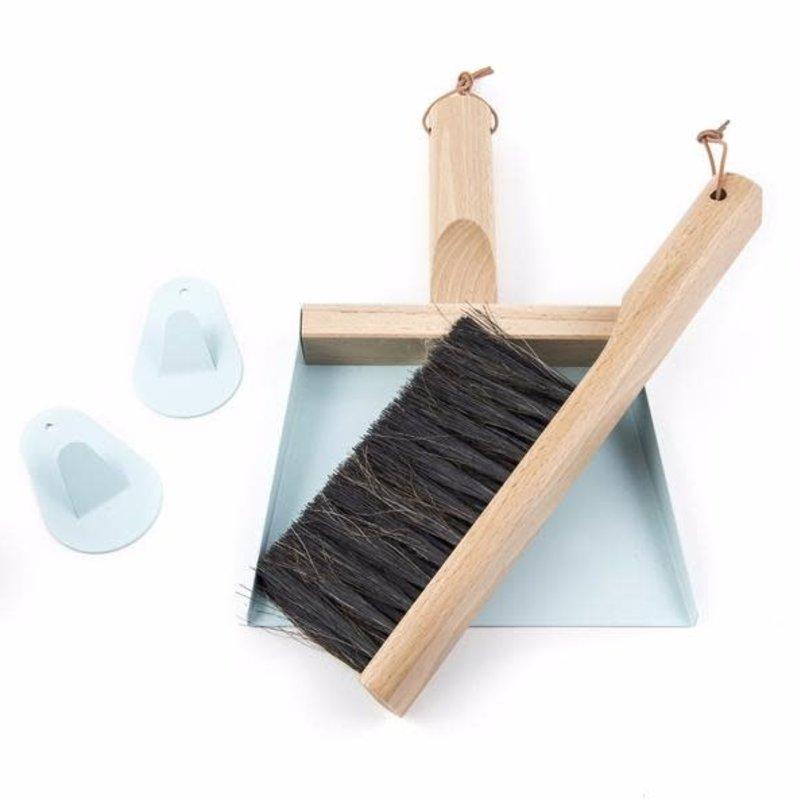 """""""Mr & Mrs Clynk"""" Light Blue Hand Brush, Dustpan and Wall hooks"""