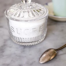 "Depression Glass Sugar Jar ""SUCRE"""