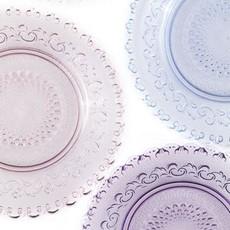 "Dentelle Chantilly Glass Plate in Blush, 6.3"""
