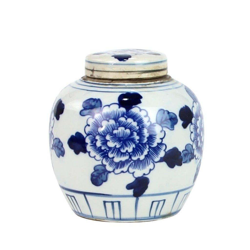 LPM Blue And White Mini Jar  with Peony