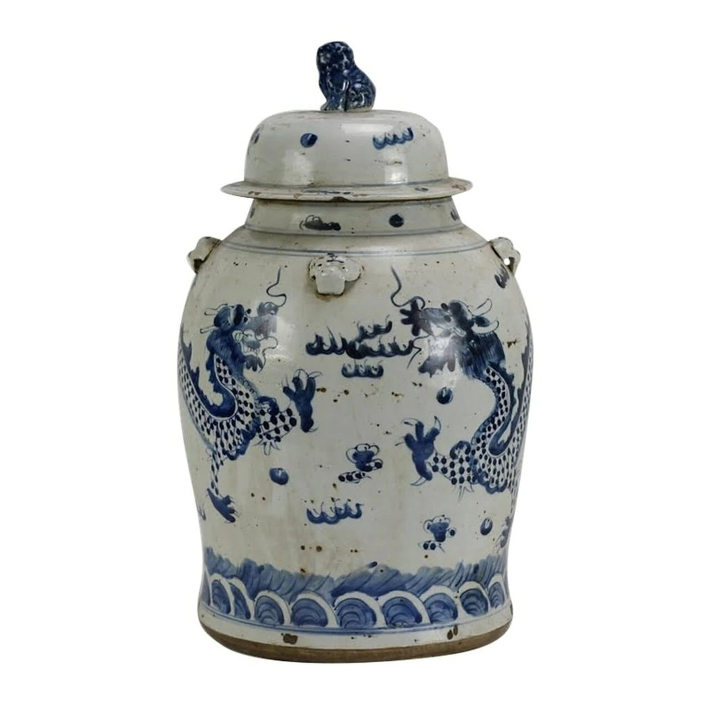 Vintage Temple Jar Dragon, Small