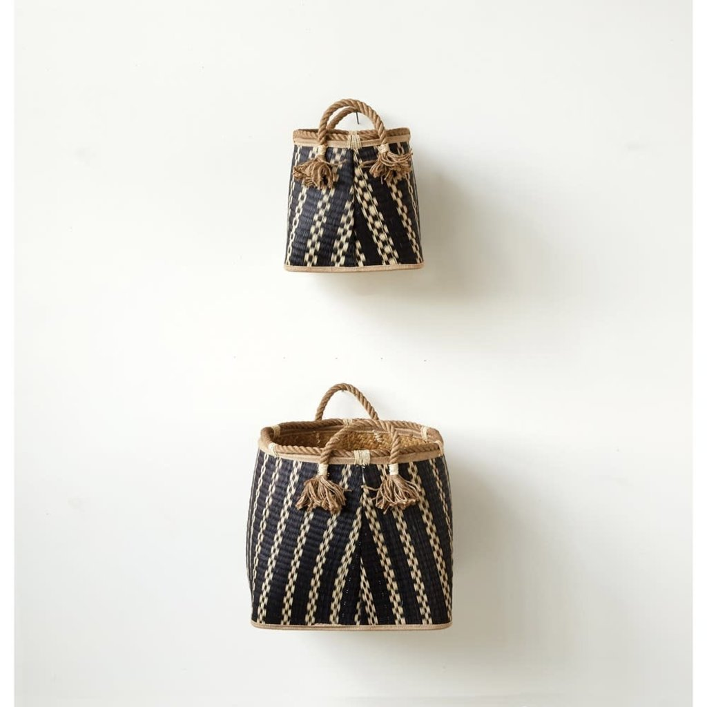 Wicker Baskets With Rope Handles, Set of 2