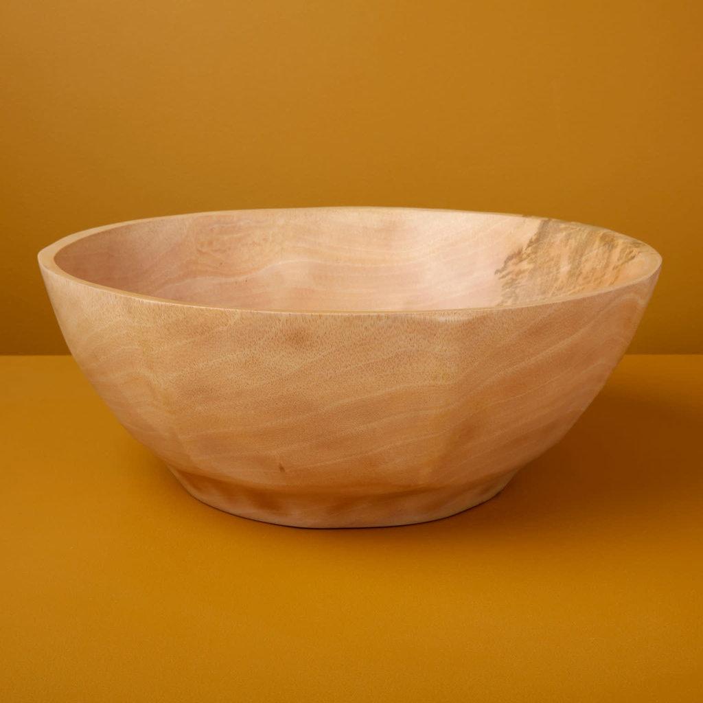 Mango Wood Curved Bowl,  Large
