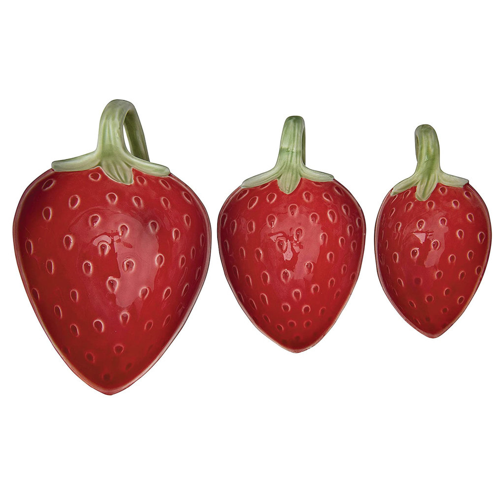 Stoneware Strawberry Prep Bowls with Handle, Set of 3