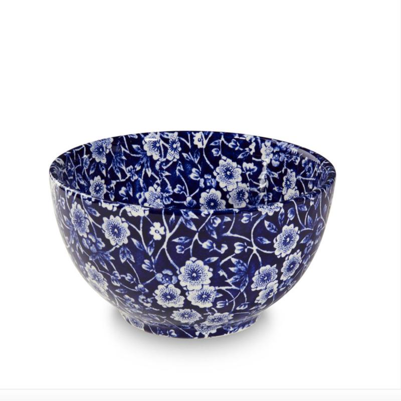 Blue Calico Mini Footed Sugar Bowl, large