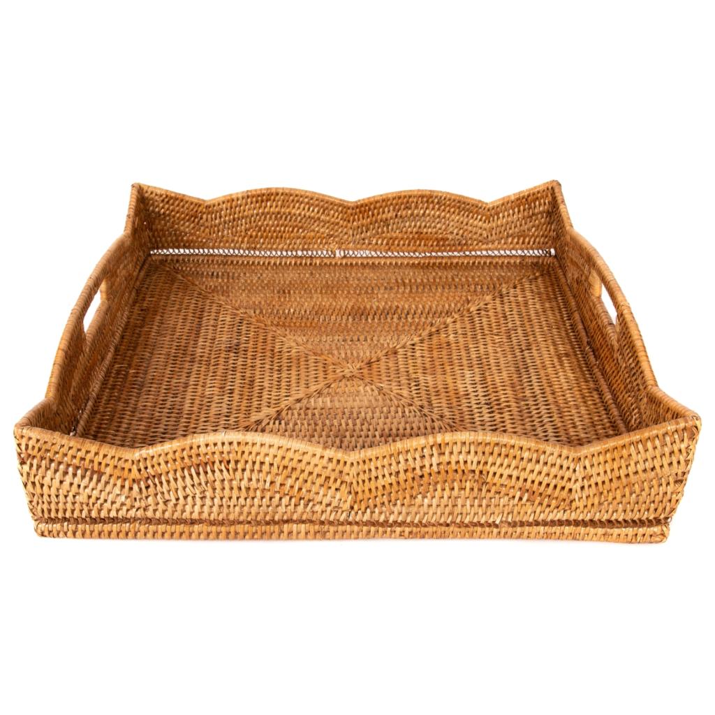 Rattan Scallop Square Tray, honey brown