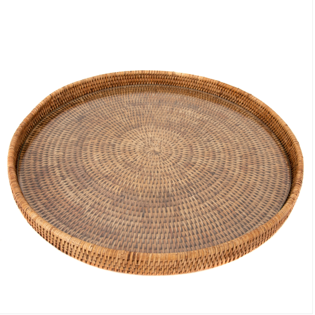 LPM Rattan Round Tray with Glass Insert, honey brown