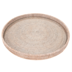 LPM Rattan Round Tray with Glass Insert, white wash