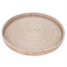 Rattan Round Tray with Glass Insert, white wash