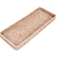 LPM Rattan Rectangle Vanity Tray, white wash