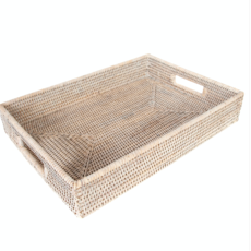 Rectangle Tray with Cutout Handles, white wash