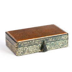 LPM Lila Gold Embossed Leather Storage Box