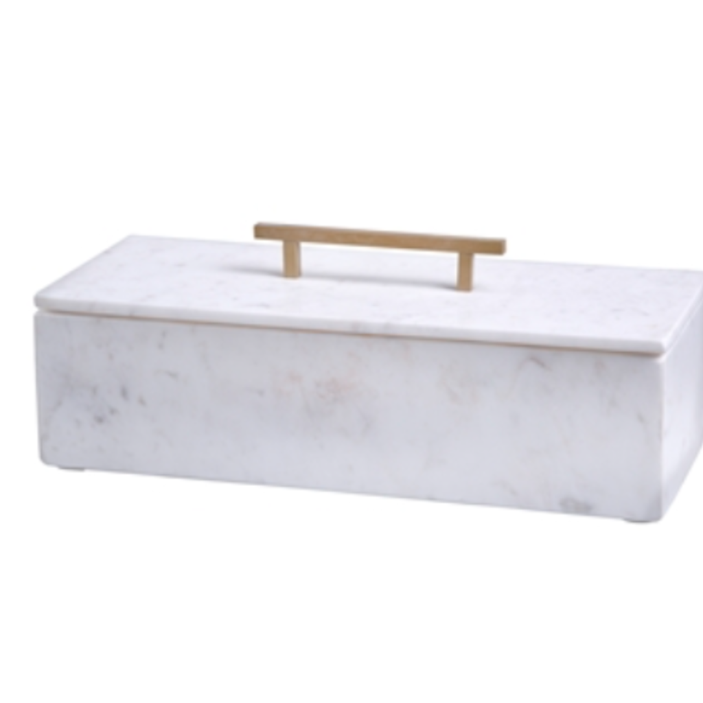 Marble Box and Lid with Metal handle
