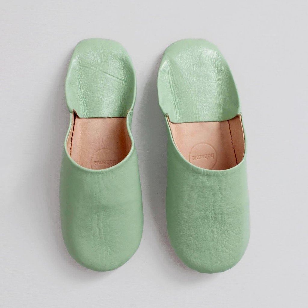 Sage  Moroccan Babouche Basic Slippers, large