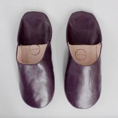 Plum Moroccan Babouche Basic Slippers, Medium