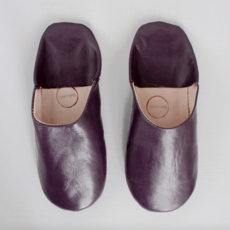 Plum Moroccan Babouche Basic Slippers, Large