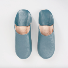 Blue grey Moroccan Babouche Basic Slippers, large