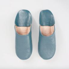 LPM Blue Grey Moroccan Babouche Basic Slippers, medium