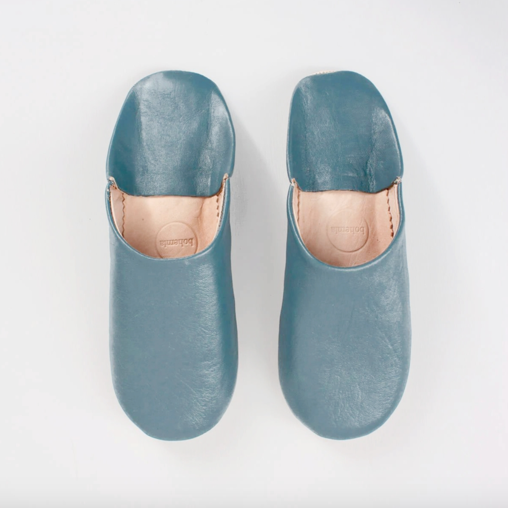 Blue Grey Moroccan Babouche Basic Slippers, Medium