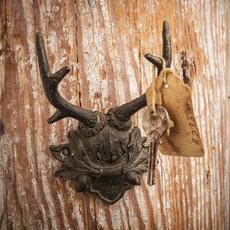Black Pewter Antler Mount Wall Hook