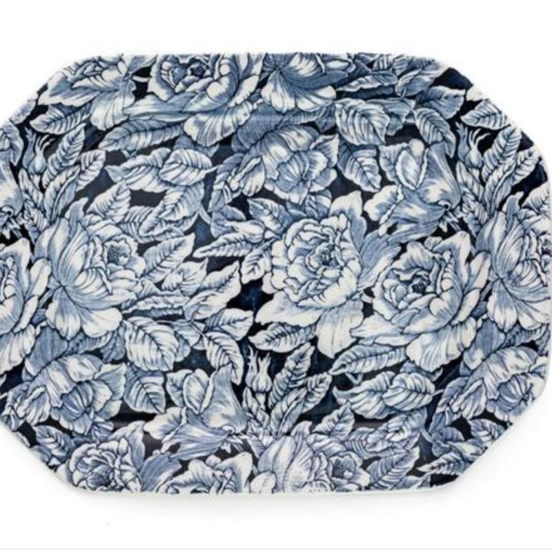 Blue Hibiscus Large Rectangle Platter