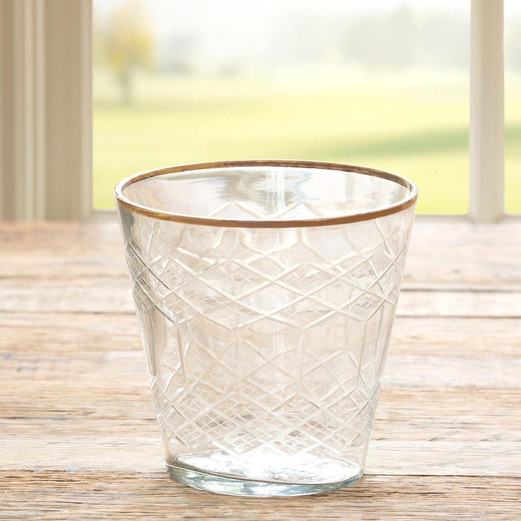 LPM Cut Glass Votive Cup w/Gold Plated Rim
