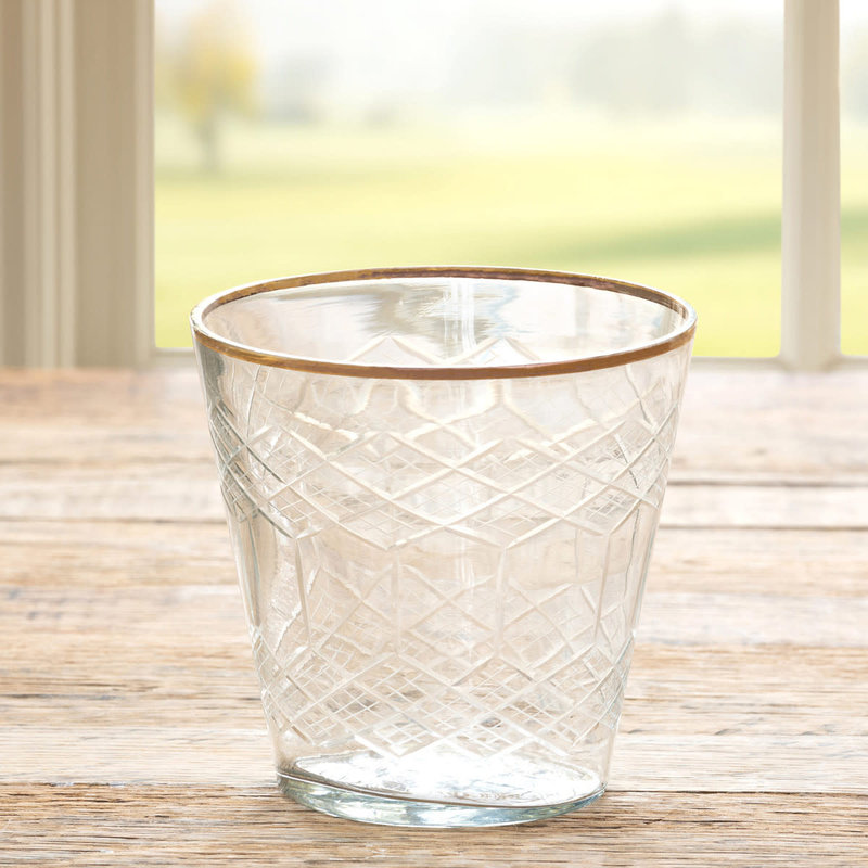 Cut Glass Votive Cup w/Gold Plated Rim