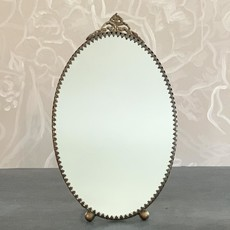 Oval Mirror with Stand Antique Brass, Large