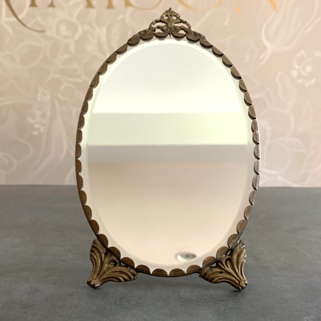 Oval Mirror with Stand Antique Brass, Medium