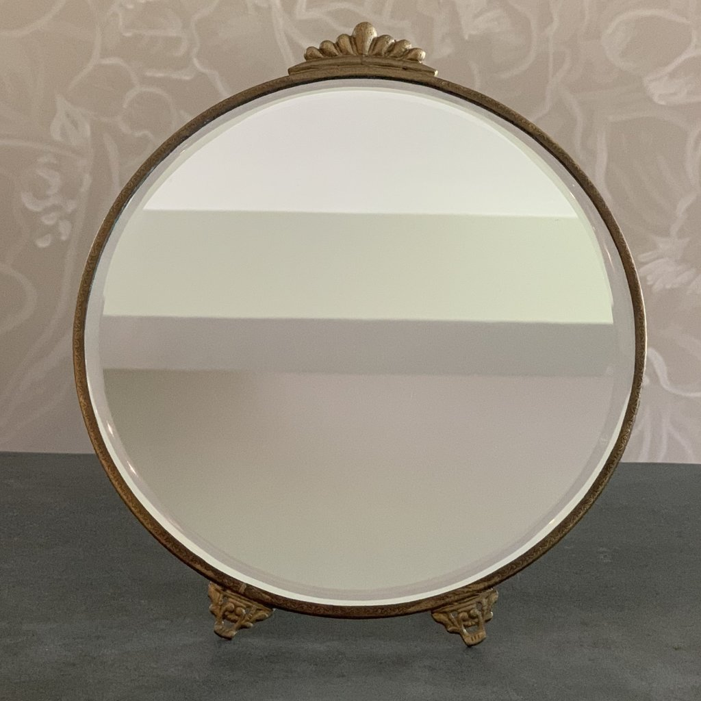 Round Mirror with Stand, Antique Brass Large