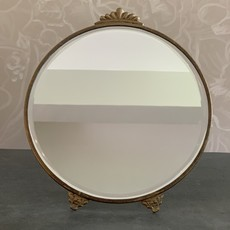 LPM Round Mirror with Stand, Antique Brass Large