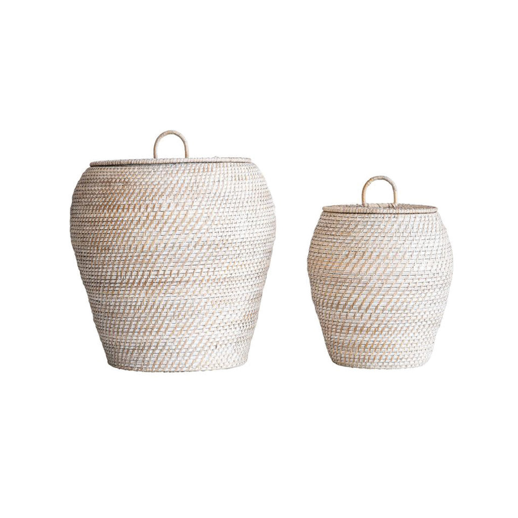 Whitewashed Rattan Basket With Lid, Large