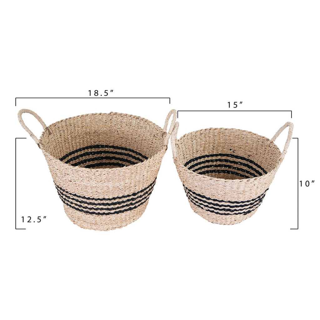 Natural Woven Palm & Seagrass Striped Baskets, Black, large