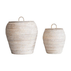 Whitewashed Rattan Basket With Lid, Small