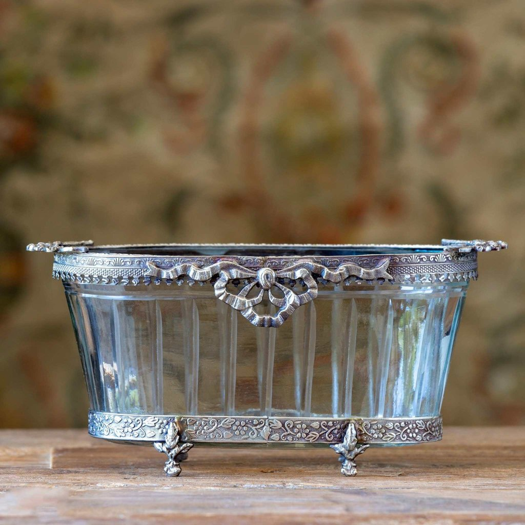 Cut Glass Oval Bowl With Metal Embellishment