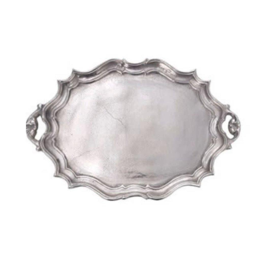 Cast Aluminum Oval Baroque Tray