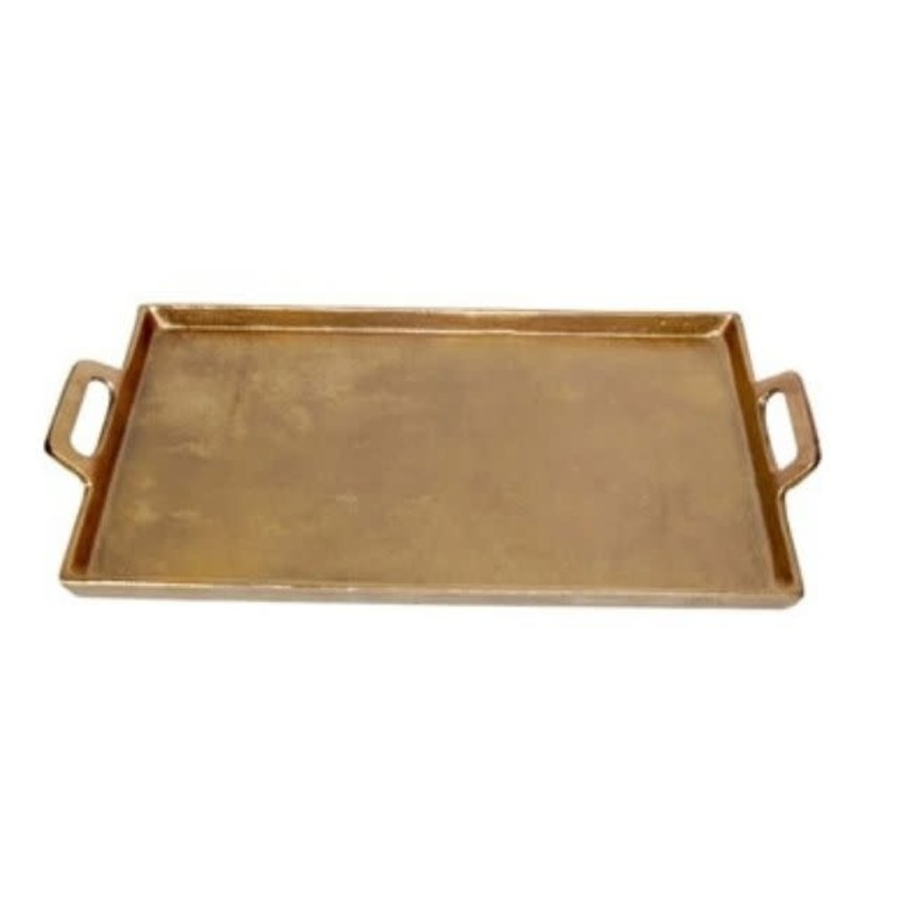LPM Aluminum Brass Tray with Handles, large