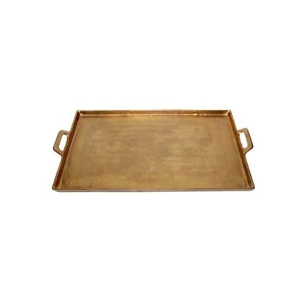 Aluminum Brass Tray with Handles, medium