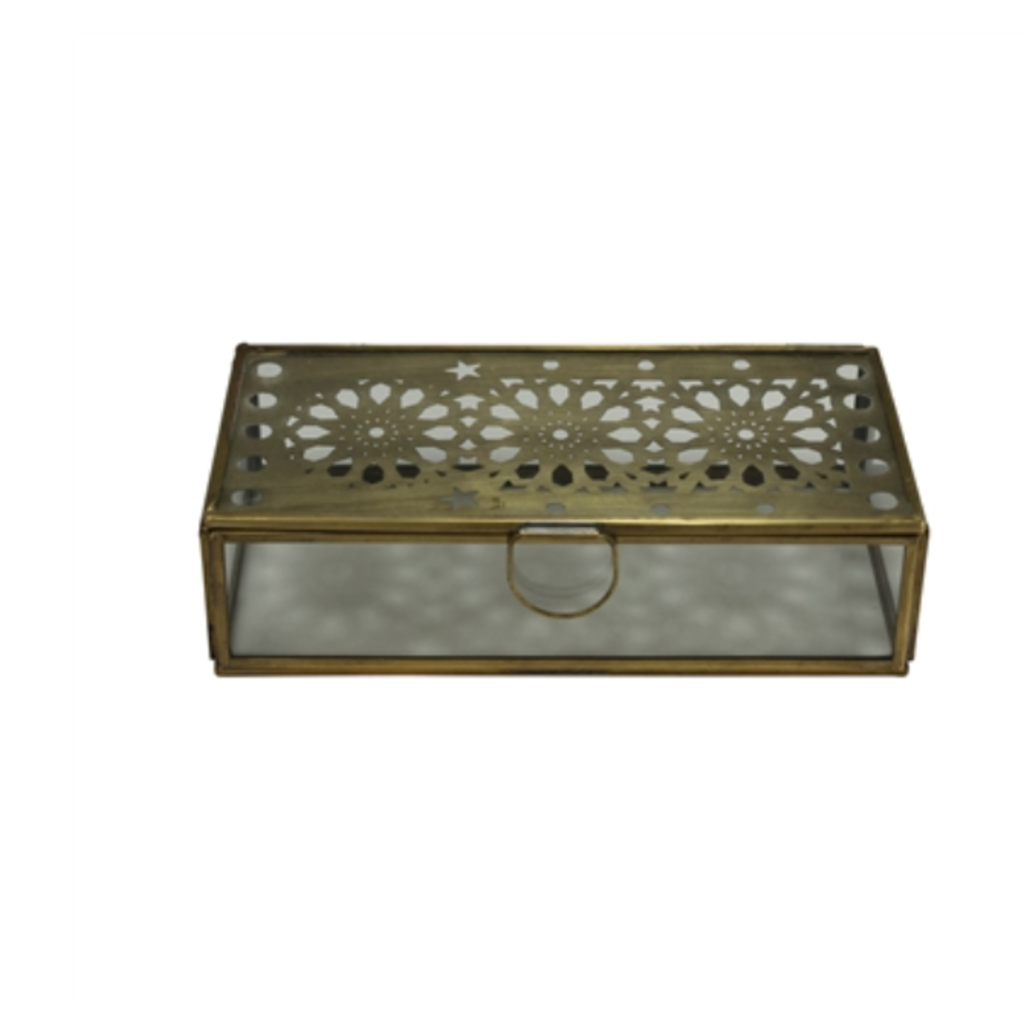 LPM Amara Laser Cut Box, brass & glass small