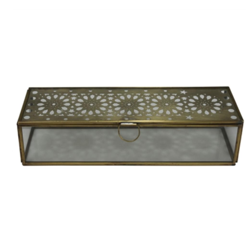 LPM Amara Laser Cut Box, brass & glass large