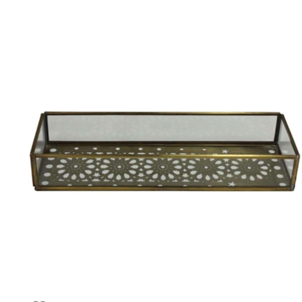 LPM Amara Laser Cut Tray, brass & glass