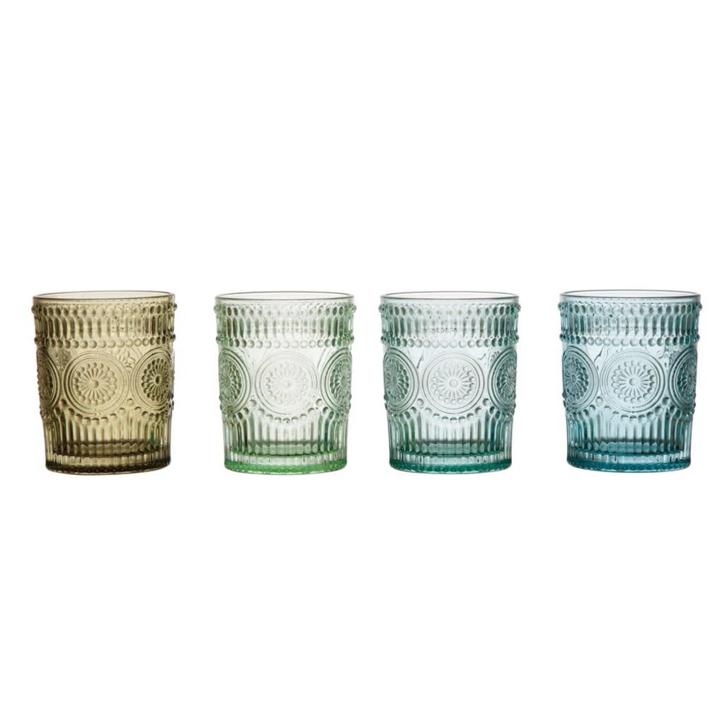 Embossed Drinking Glass, Multicolor