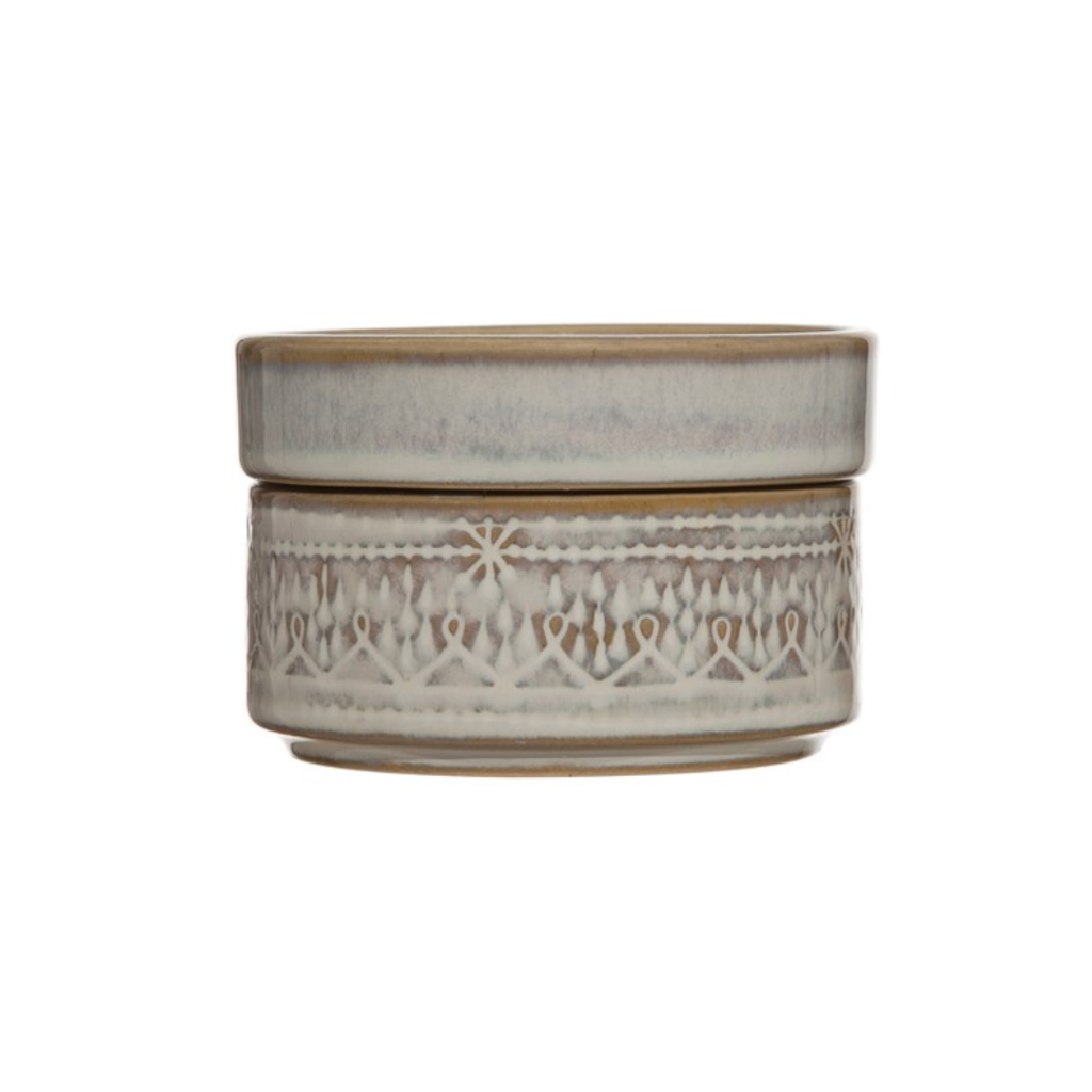 LPM Round Stoneware Dish White Reactive Glaze