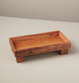 LPM Reclaimed Wood Rectangle Footed Tray, small