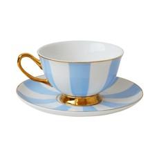 Stripy Teacup & Saucer, Blue & White