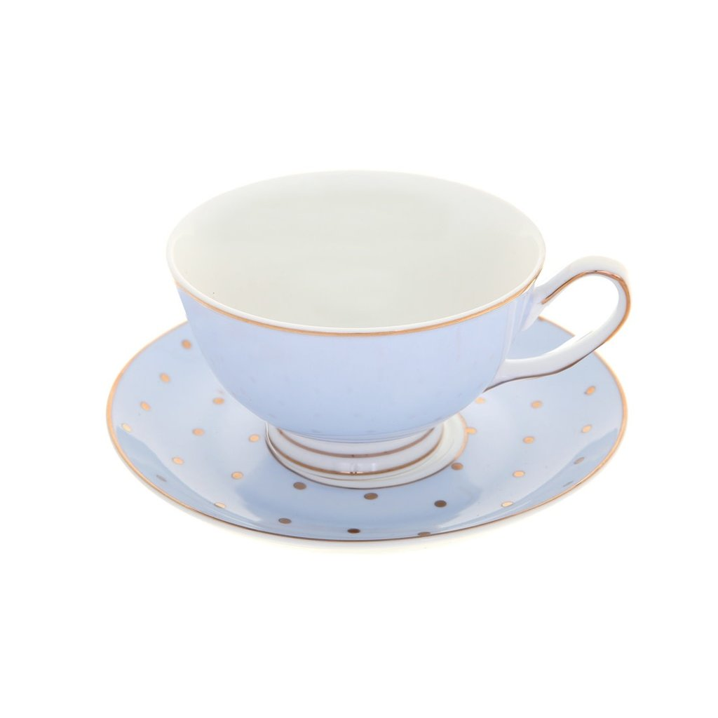 Miss Darcy Butterfly Teacup & Saucer w/Blue & Gold