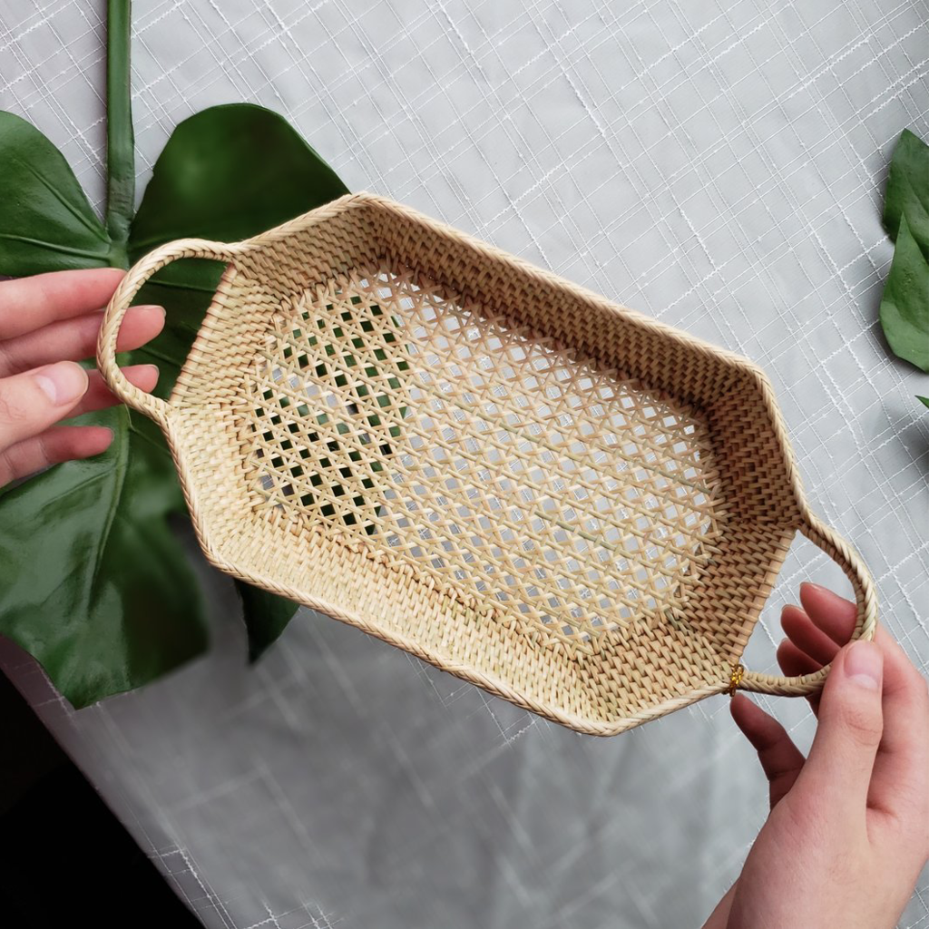 LPM Rectangle Tray with Handle Web and Solid  Weave