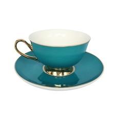 Teal Teacup and Saucer
