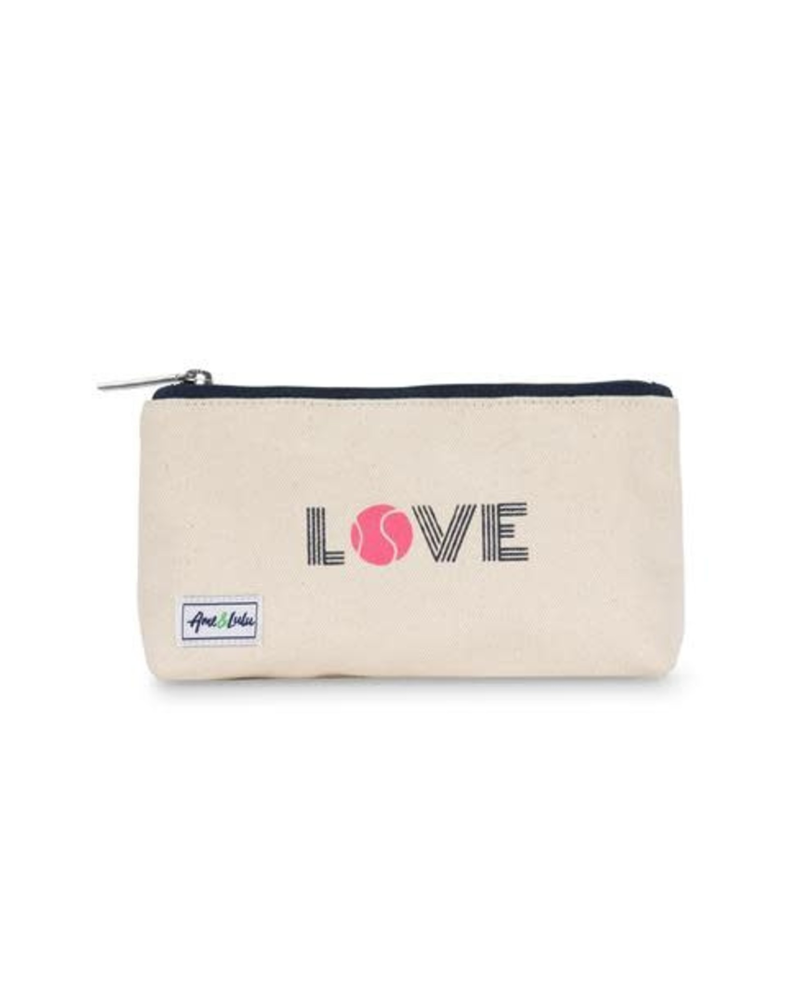 Ame & Lulu Pink Love Brush It Off Cosmetic Case