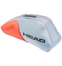 Head Head Radical 6R Combi Tennis Bag Grey and Orange